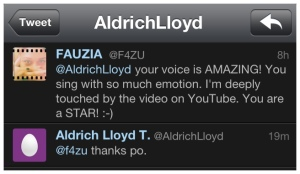 "A tweet I sent out to Aldrich Lloyd ""LA"" Talonding to let him know how much I loved his voice and video."