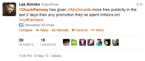 Laz Alonso's Tweet to McDonalds