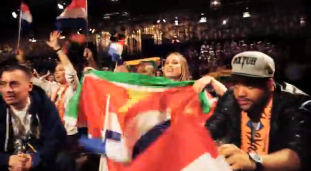 Anouk waving the Surinam flag at the semi final of the Eurovision Song Contest