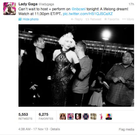 Lady Gaga's Tweet about SNL