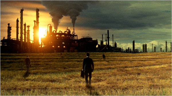 Movie still from the documentary Food Inc (Corporate Farmers)